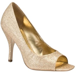 BCBGeneration Peep Toe Gold Glitter Pumps