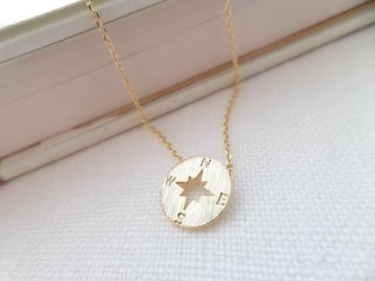 Other New Tiny circle disk necklace, compass jewelry, compass necklace in gold