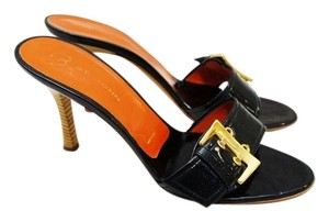 St. John Patent Leather Open Toe Sandal Black Mules