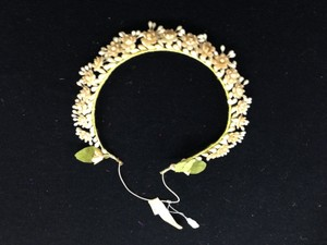 Vintage Victorian-style 1930s Bridal Wax Flower Crown With Elastic Strap