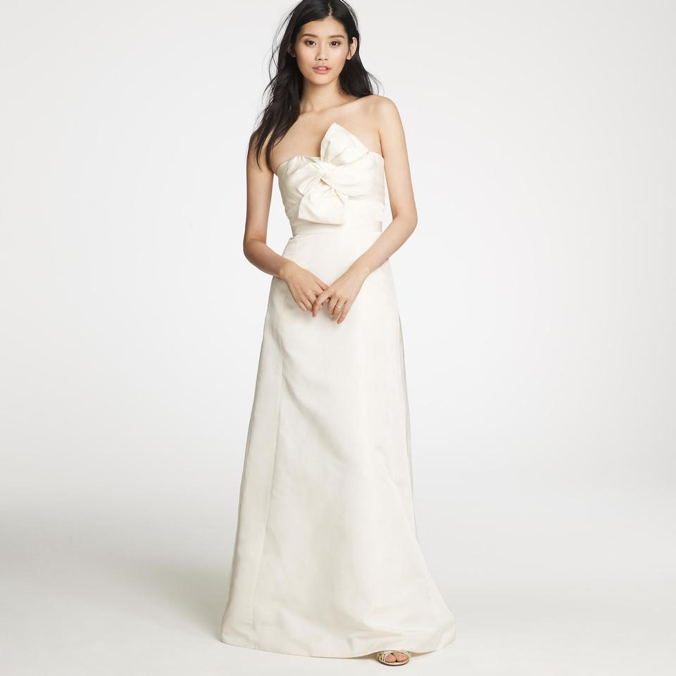 J.Crew Ivory Silk Bow Monde Formal Wedding Dress Size 6 (S) - Tradesy