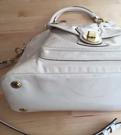 Coach Patent Leather Satchel in Winter White/ Ivory
