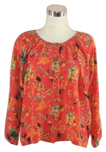 Bayla Jane Silk Shirt Long Sleeve Button Front Top Salmon