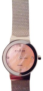 Skagen Denmark Skagen Denmark stainless steel sterling silver watch with pink mother of pearl face