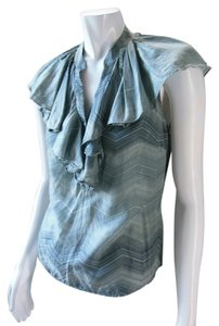 The Limited Ruffle Sleeveless Secretary Career 9642 Top Blue