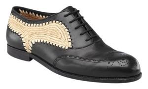 Bottega Veneta Brunissable Straw Lace Up Lace Up Black Flats