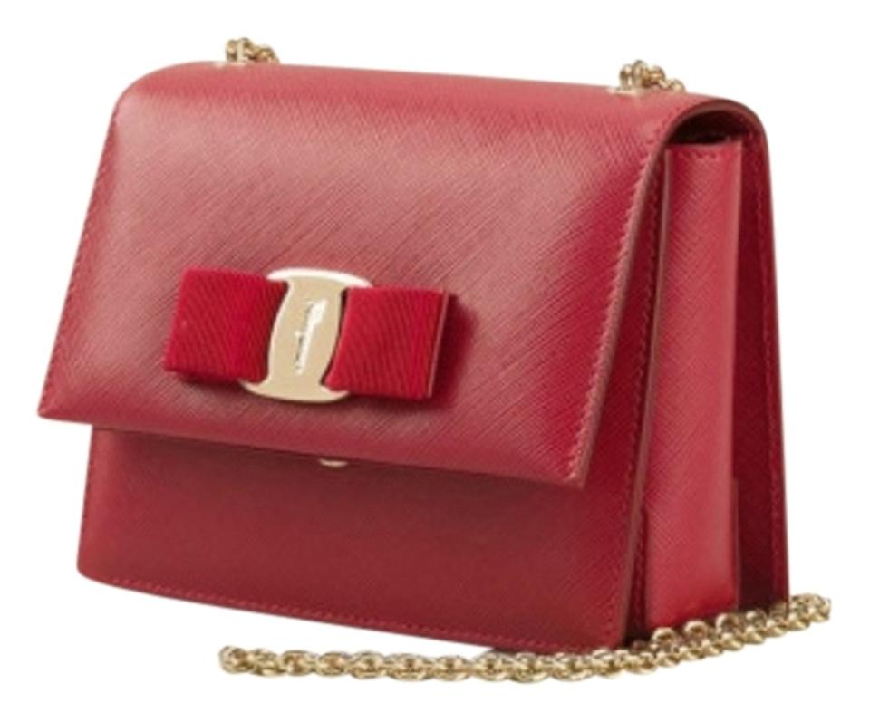 0074faf7f2f1 Salvatore Ferragamo Ginny Mini Purse Red Leather Cross Body Bag ...