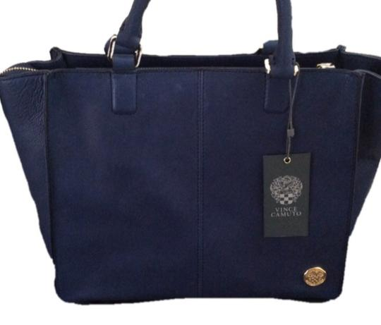 Vince Camuto Trapezoid Tote Blue Expandable Leather Satchel in Navy Blue