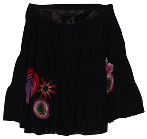 Desigual Mini Lace Cotton Mini Skirt Black