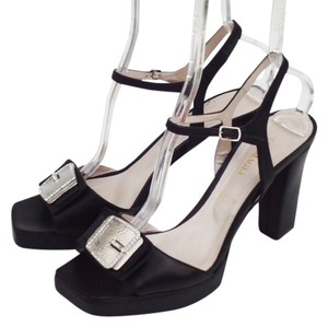 Bruno Magli Rhinestone Buckle Heel 40 9.5 Black Sandals