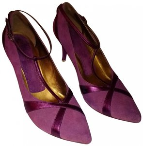 Fornarina Dressy Unique Strappy Pointed Toe plum Pumps