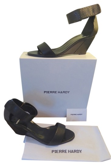 Preload https://item2.tradesy.com/images/pierre-hardy-black-current-season-leather-ankle-wrap-sandal-wedges-size-us-85-regular-m-b-4066036-0-0.jpg?width=440&height=440