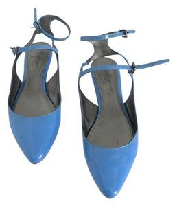 Belle by Sigerson Morrison Ankle Strap Blue Periwinkle Flats