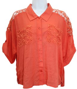 LA FESTA Embroidered Trim Orange Top
