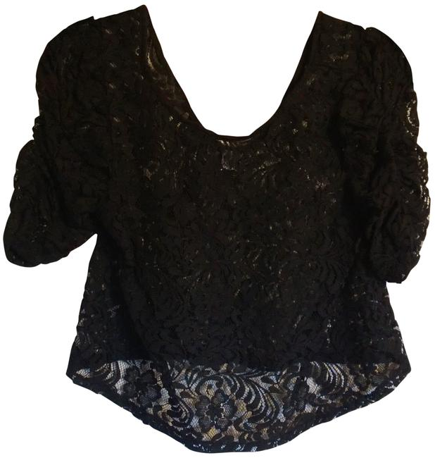 Audrey 3+1 Crop Lacey Ruched Top Black