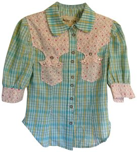Sugar Lips Button Down Shirt blue, pink, white, yellow