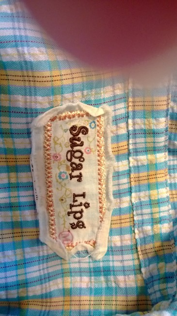 Sugarlips Button Down Shirt blue, pink, white, yellow