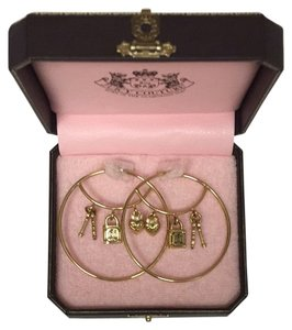 Juicy Couture Gold Juicy Couture Hoops with Charms in Original Box, 2