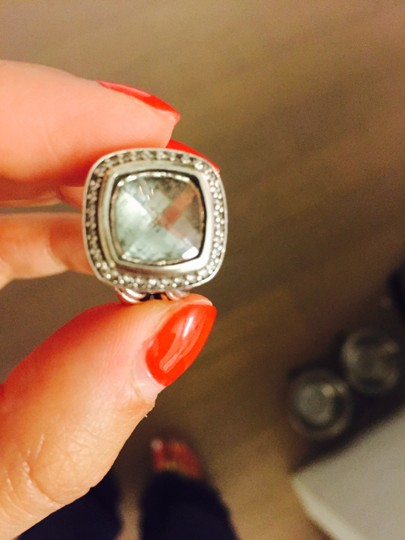 David Yurman Albion Ring in Sterling Silver with Prasiolite Stone and Diamonds