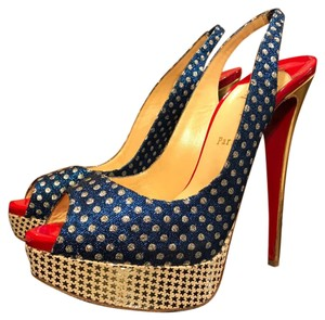 Christian Louboutin Patriotic Peep Toe Slingback Heels Rare Red, White, Blue & Gold Pumps