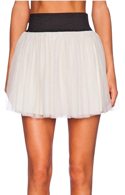 Show Me Your Mumu Fancy Casual Girly Versatile Mini Skirt Considered 'Silver Slipper' white/gray