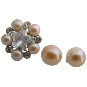 Fashion Jewelry For Everyone Peach Freshwater Pearl Ring with Matching Stud Earrings