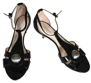 Coach Size 5.5 Black patent leather bronze heel Sandals