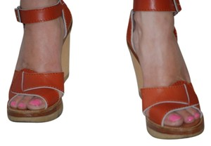 Chloé Chloe Wedge Brown Leather Sandals