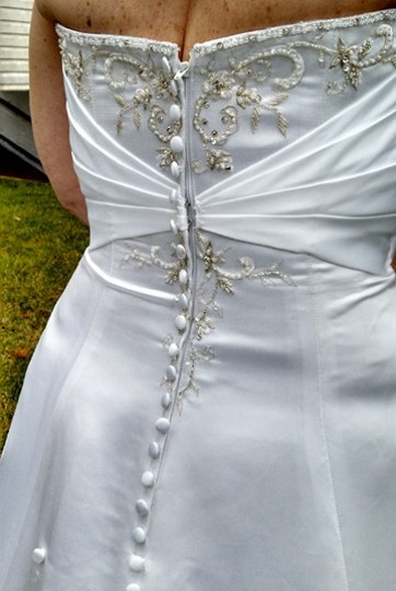 Alfred Angelo White Satin Traditional Dress Size 12 (L)