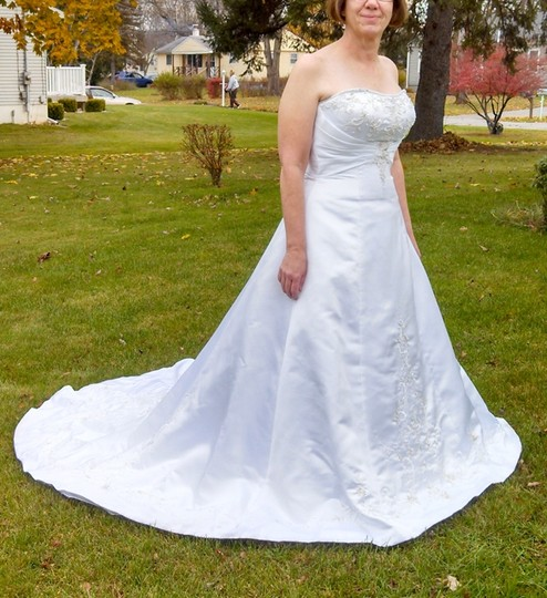 Alfred Angelo White Satin Traditional Wedding Dress Size 12 (L)