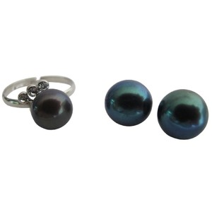 Fashion Jewelry For Everyone Tahitian Adjustable Freshwater Pearl Ring with Stud In Color Earrings