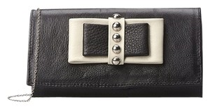 Possé Leather Bow-detail Wristlet in Black with Bone Trim