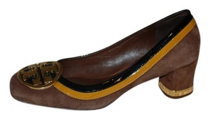 Tory Burch Unique Brown Suede trimmed in Camel and black Patent Leather Pumps