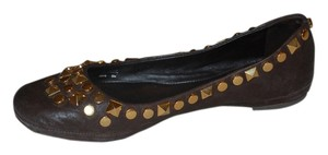 Tory Burch Ballet Brown leather with Gold studs Flats