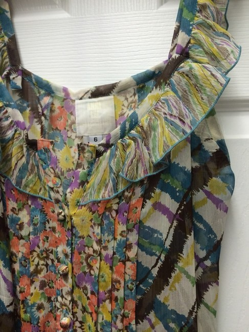 Anna Sui Top Floral And Plaid Image 1