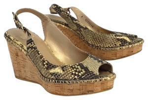 Stuart Weitzman Snake Embossed Leather Slingback Wedges