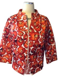 Neiman Marcus Jacket Floral Button Down Shirt Red Floral