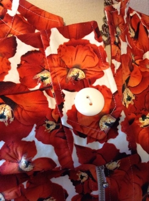 Neiman Marcus Jacket Button Down Shirt Red Floral