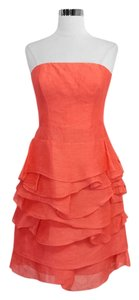 Reiss Coral Linen Silk Strapless Dress