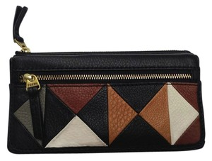 Fossil Fossil Erin Patchwork Flip Clutch Wallet Leather Black Multi SL4744