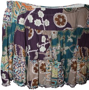 American Rag Mini Flowers Teal Mini Skirt Purple/Teal