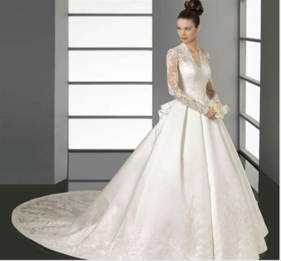 Davids Bridal Wedding Gown: David's Bridal Long Sleeved Satin And Lace Ball Gown Kate
