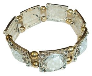 Avatar Imports Silver and Rhinestone Stretch Bracelet 3 Inches Silver/Gold Alloy.