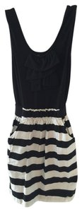 BCX short dress Black & White Bold Stripe Striped Ruffle Sleeveless on Tradesy