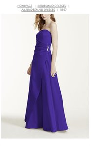 David's Bridal Regency Purple 8567 Satin Gown With Side Drape And Brooch Dress