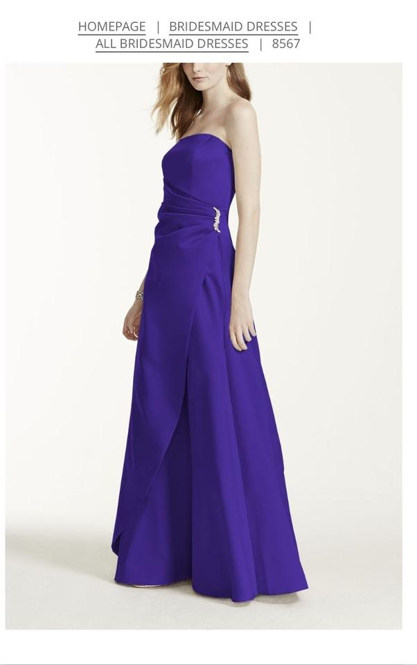 David\'s Bridal Regency Purple Satin 8567 Gown with Drape and Brooch ...