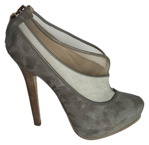 Fendi Designer Luxury Pre Owned Like New Suede Leather Gold Platform High Heel Stiletto Womens 9.5 Unique Stunning Sale Grey Nude Beige Pumps