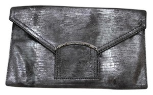 Nine West Leather Black Silver Reversible Silver, Black Clutch