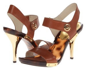 Michael Kors Gold Print Luggage Sandals