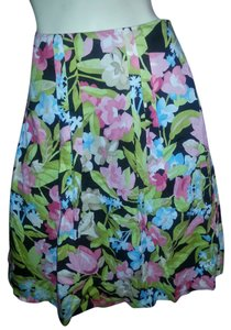 Talbots Skirt Green, teal, blue, pick white floral on black